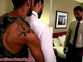 tattootooed homosexual black jock Jin Powers fucks ass