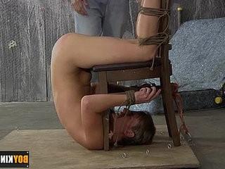 nice twink Casper Ellis getranssexual bent upside down spanked and fucked real hard
