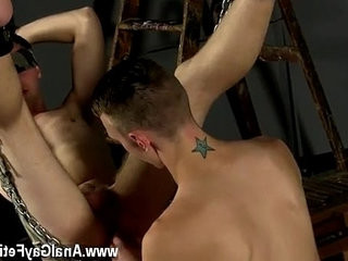homosexual XXX Aiden is blindfolded and swinging, tied into the metal sling